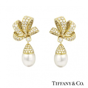 Tiffany & Co. 18k Yellow Gold Diamond and Pearl Earrings
